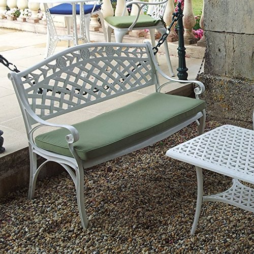 Lazy Susan - CLAIRE Rechteckiger Garten Beistelltisch mit 1 ROSE Gartenbank - Gartenmöbel Set aus Metall, Weiß (Grünes Kissen)