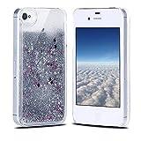 Funda iPhone 4, Carcasa iPhone 4S, RosyHeart Sparkle Brillar Líquido Lentejuelas Funda para iPhone 4/4S - Ultrafina Dura PC Transparent Anti-arañazos Protectiva Caso - Plata