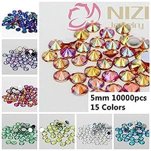 Generic 03 light green ab : 10000pcs 5mm Shiny Acrylic Rhinestone AB Colors Flatback Pointed Design For Nail Art Supplies Stone Decoration Diamonds