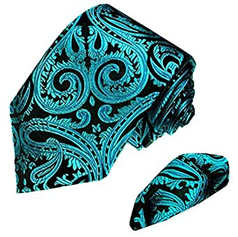 LORENZO CANA Luxury Set Tie And Hanky Jacquard Woven Italian 100% Silk Handmade Necktie Ties - Black Paisley Pattern