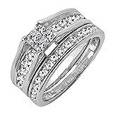 Damen Ring / Ehering 1.00 Karat 14 Karat Weißgold Princess & Rund Invisible Diamant Damen Ring / Ehering Set Verlobungsring Set 1 Karat