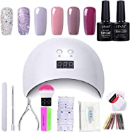Gel Nail Polish HNM 6 Gel Nail Starter Kit with 24W LED Curing Lamp Base and Top Coat UV LED Soak Off Nail Polish Remover Wra