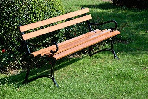 dobar Große Garten Sitzbank aus Gusseisen massiv, FSC für draußen wetterfest, Holzbank mit Lehne aus Metall, 180 x 45 x 72,5 cm, braun - 5