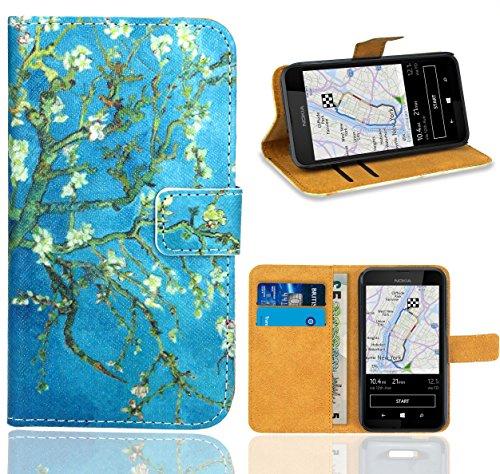 FoneExpert® Nokia Lumia 530 Handy Tasche, Wallet Case Flip Cover Hüllen Etui Ledertasche Lederhülle Premium Schutzhülle für Nokia Lumia 530