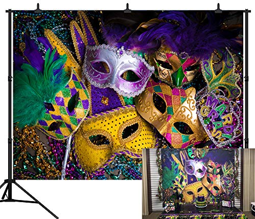 DePhoto 9X6FT (270X180CM) Karneval Mardi Gras Bunte Maske Poster Masquerade Nahtlose Vinyl Fotografie Hintergrund Foto Hintergrund Studio Prop PGT140B