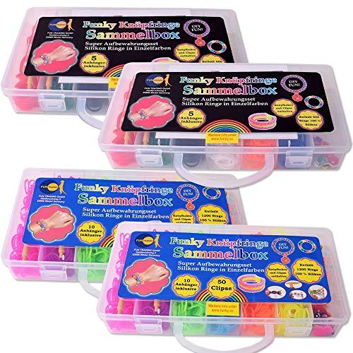 TE-Trend DIY Loom Bänder Set Starter Kit Gummibänder Anhänger Clips Silikon Ringe Freundschaftsbänder XXL 3700 Teile Party Hobby Geschenk