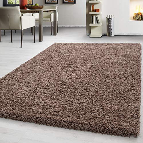 Teppich Hochflor Shaggy Teppich Unicolor einfarbig Teppich farbecht Pflegeleicht, Maße:200 cm x 290 cm, Farbe:Kaffee