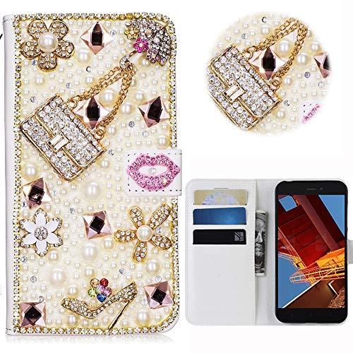 Print Strass-handtasche Geldbeutel (Xiaomi Redmi GO Glitter Hülle Case,3D Handtasche Absatz Lippe Strass Diamant Weiße Ledertasche PU Lederhülle Flip Hülle Ständer Wallet Tasche Schutzhülle Glitzer Handy Case für Xiaomi Redmi GO)