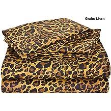 Crafts lino algodón egipcio sábana, satén 4piezas Super King juego de sábanas (+ 30cm) bolsillo profundidad, estampado de leopardo