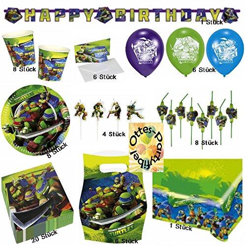 HHO Teenage Mutant Ninja Turtles Partyset Teller Becher Servietten Tischdecke Luftballons Trinkhalme Figurenkerzen Girlande Einladungskarten Partytüten 68 Teile