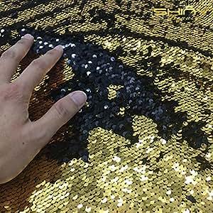Tessuto di Paillettes Verdi, Effetto Squame di Pesce/Sirena, in Lunghezze da 90 cm, in Tessuto Spandex Bielastico, per Vestito da Sposa Fai-da-Te, Abiti da Sera e da Ballo, Costumi, Federe e Copricuscino, Gold-Black, 0,9 m