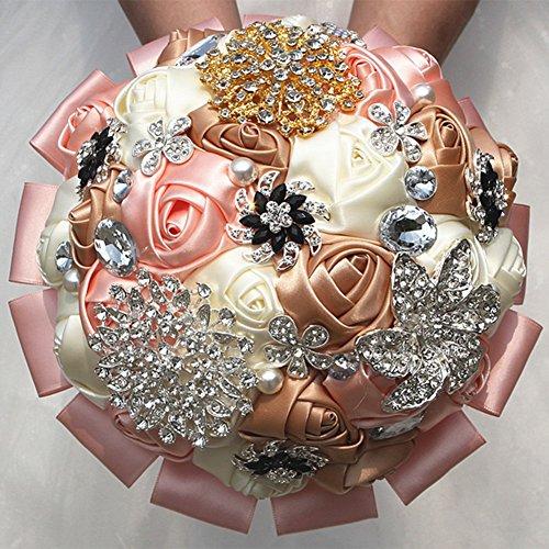 OOFAY TAPS Satin Artificiel Rose Mariée Mariage Bouquet Demoiselle D'honneur Rose Fleur À La Main Strass Dentelle Satin Ruban Décor