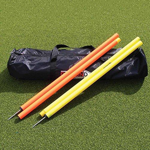12Stück zusammenklappbar Slalom Stangen komplett mit Tasche–6gelb–6orange–Speed Agility Training–Fußball Rugby Athletic