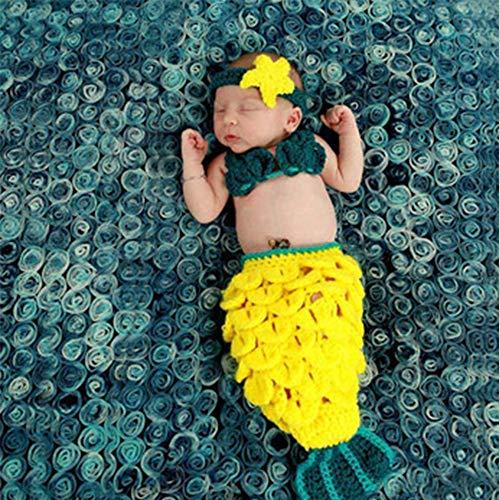 Fotografie Baby Requisiten Outfit Stirnband BH Schwanz Set Foto Kostüm Mädchen handgemachte häkeln Meerjungfrau ()