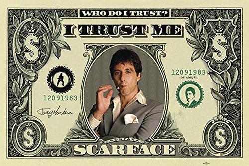 Póster Scarface/El Precio del Poder/Cara cortada Dólar (Who do I Trust?/En quién confio?) (91,5cm x 61cm) + 1 paquete de tesa Powerstrips® (20 tiras)
