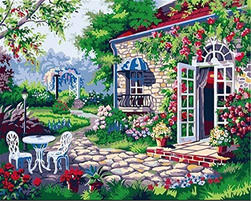 Europäischen Stil Cottage Tisch und Stühle Rest - DIY Farbe nach Zahlen für Senior Junior Anfänger Erwachsene Ebene Home Decor 40X50 cm kein Rahmen