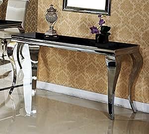 Console 140 x 45 x 75 noir design mara couloir fair-shopping table de luxe en acier inoxydable avec porte en verre de salle de bain style baroque pour bureau-chrome/verre