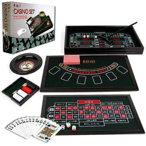 Trademark Poker 4-in-1 Casino-Spieltisch mit Roulette, Würfelspiel, Poker sowie Blackjack