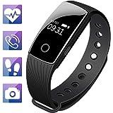 Mpow Bluetooth 4,0 Fitness Armbänder mit Pulsmesser,Smart Fitness Tracker mit Herzfrequenzmesser, Schrittzähler, Schlaf-Monitor, Aktivitätstracker, Remote Shoot, Anrufen / SMS, Schwarz