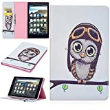 KM-WEN® Tablet Case for Amazon Fire HD 8 (6th Gen/2016 Model) Bookstyle Color Painting Serie Cute owl Pattern PU Leather Flip Cover Case Bag with Stand Function Protective Case Cover for Amazon Fire HD 8 (6th Gen/2016 Model) Tablet PC Color-7