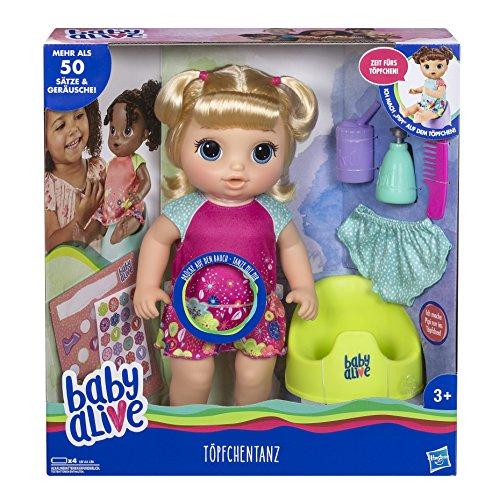 Hasbro E0609GC0 Baby Alive-Töpfchentanz (Blondhaarig), Funktionspuppe-kann sprechen, tanzen und auf das Töpfchen gehen, Mehrfarbig