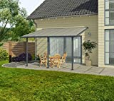 Hochwertige Aluminium Terrassenüberdachung, Terrassendach 300x610 cm (TxB) - grau