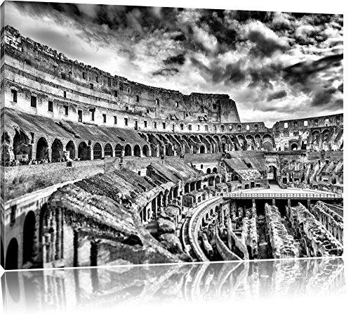 Monocrome, Colloseum in Rom von innen , Format: 100x70 auf Leinwand, XXL riesige Bilder fertig gerahmt mit Keilrahmen, Kunstdruck auf Wandbild mit Rahmen, günstiger als Gemälde oder Ölbild, kein Poster oder Plakat