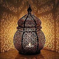 Orientalische Eisenlaterne Teja 34cm indisches Windlicht Laterne mediterrane Gartenlaterne Orientlampe Gartenwindlicht Metall (schwarz/innen gold)