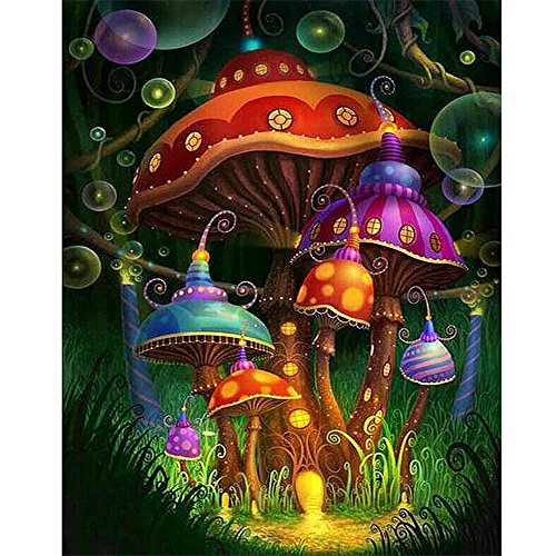 "Gemini_mall® DIY 5D Diamond Painting Kit, Mushroom House Crystal Full Diamond Rhinestone Painting By Number Cross Stitch Kit Embroidery Craft Home Decor 11.81"" x 15.75"""