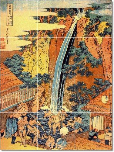 KATSUSHIKA HOKUSAI UKIYO-E TILE MURAL TRADICIONAL DECORACION DEL HOGAR  18X 24CM CON (12) 6X 6AZULEJOS