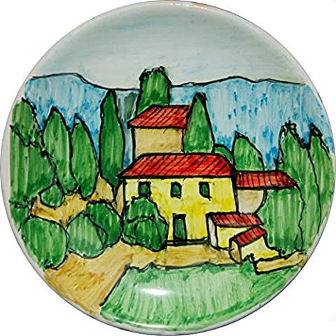 Tuscan landscape-Hand-decorated ceramic plate diameter of inch 4,6-MADE in ITALY Lucca Tuscany, certificate.