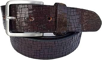 ESPERANTO Cintura 4 cm in Cuoio stampato-unisex colore moro