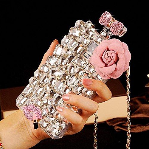 Angelcases Schutzhülle für iPhone 5/5S/SE, luxuriöse 3D-Schutzhülle, handgefertigt, mit Kristallen, Strass-Diamanten, Hülle mit Parfüm-Flaschen-Motiv, Handy-Hülle für iPhone 5/5S/SE, transparent Pink, Pink Stone, Samsung Galaxy S6 Edge Plus (Flasche Handgefertigte)