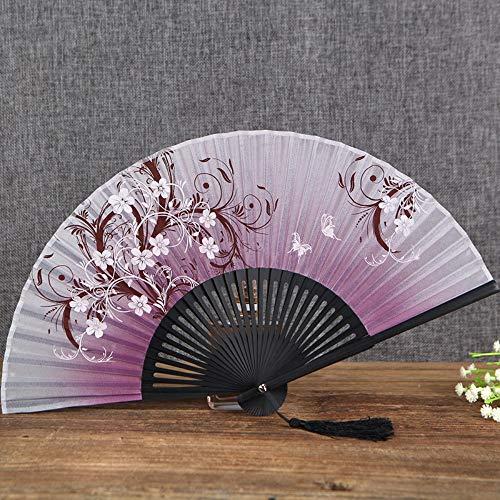 XIAOHAIZI Faltfächer Geschenk Frauen Faltfächer Sommer Japanische Kirsche Fan Fan Antike Wind Fan Seidentuch Fan Light Purple