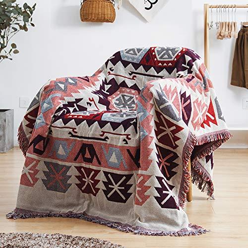 ARIESDY 100% Baumwolle gewebt Decke Sofa Handtuch Baumwolle warme Schonbezug, böhmische Gesteppte Decke werfen, 90 * 90cm01 -