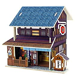 Creative Assemble Puzzle Toys Child Early Education Wooden 3D Puzzle House Japan Grocery Store