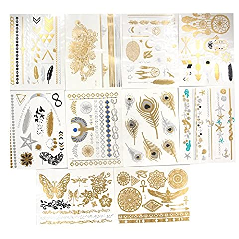 Samtaiker 10 Bogen Premium Temporäre Metallic-Tattoos zum Aufkleben Hippie Temporary Tattoos in Gold Silber von Joy Avenue