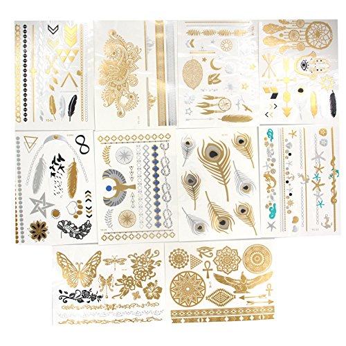 Samtaiker 10 morceaux métalliques tatouages temporaires luxe coller Sparkles Jewels Hippie tatouages temporaires en or en argent la Couronne Joy Avenue Tatouage Ephémère