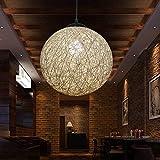 Lampadario di bambù antico vintage in rattan bambù ristorante creativo lampada salotto lampada palla