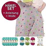 Myboshi Häkel-Set Babydecke mit Pünktchen 64cm x 67cm: 8 x Wolle Lieblingsfarben No.2 + Häkelanleitung + selfmade Label Wollfarben (Meerblau / Limettengrün /Magenta / Türkis)