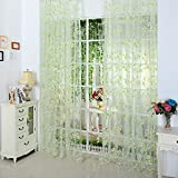 5 Colors Door Window Curtains Drape Panel Valance Curtains for Living Room Fit Rod Pocket (Light Green)