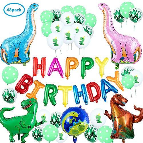 Comius 48 Pcs Dinosaurier Geburtstag Party Dekoration Ballons Set, Dschungel Dinosaurier Party Dekoration für Kinder Geburtstag