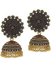 I Jewels Oxidized Gold Plated Jhumki / Jhumkas Earrings For Women (E2552G)