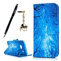 Galaxy S8 Plus Wallet Case, YOKIRIN Premium PU Leather with Blue [Tree and Leaf] Pattern Flip Wallet Case 2-in-1 Protective Magnetic Closure Shell with Credit Card Holder for Samsung Galaxy S8 Plus