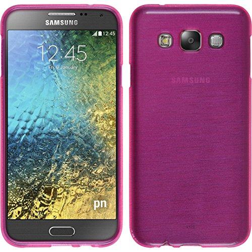 PhoneNatic Case kompatibel mit Samsung Galaxy E7 - pink Silikon Hülle Brushed + 2 Schutzfolien