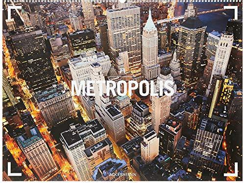 Metropolis - Ackermann Gallery 2019, Wandkalender /Städtekalender mit Luftaufnahmen im Querformat (66x50 cm) - Panorama-Kalender mit Monatskalendarium