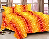 rivaz DOUBLE BEDSHEET with pillow covers BLENDED COTTON Queen 180 TC - Romantic Yellow Orange Shapes 1538