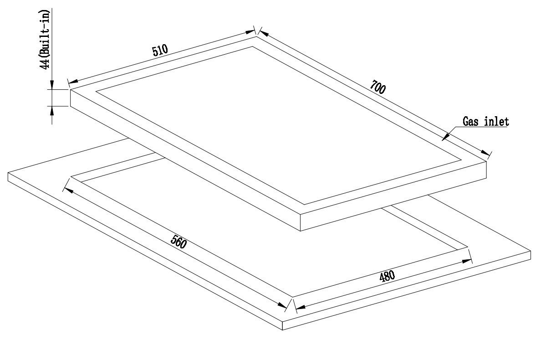 61nPaEqw36L - Millar GH7051PW Tempered Glass Hob With 5Gas Burners 70 Cm, White
