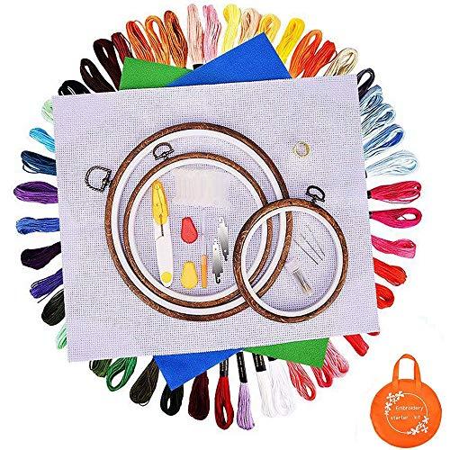 BASEIN Stickerei Set, Stickerei Starter kit, Kreuzstich Tool Kit Einschließlich 3 Stickrahmen aus Holzmaserung, 50 Farbfäden, 3 Stickstoffe und Nadelset -