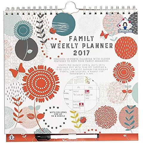 Organised Mum Family Weekly Planner Calendar 2017 Organised Mamá planificador semanal Calendario con 6 Columnas. comienza ahora hasta diciembre 17. Overlay perforado, listas de la compra y Pen